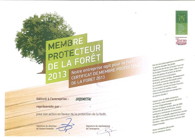 CERTIFICAT DE MEMBRE PROTECTEUR DE LA FORET 2013